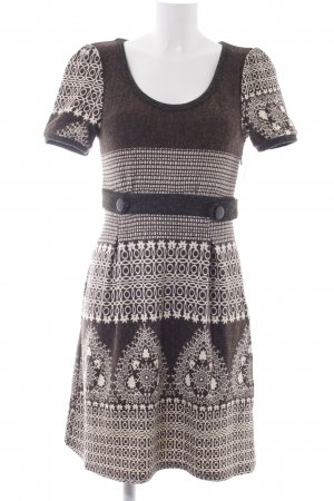 Lavand Strickkleid graubraun-wollweiß abstraktes Muster Casual-Look