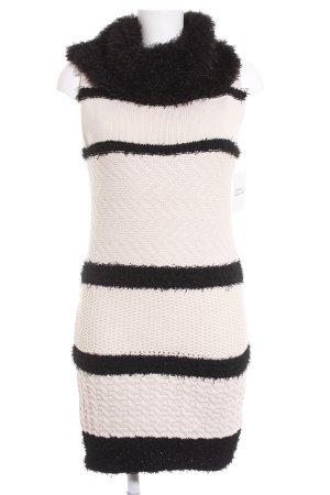 Lavand Strickkleid hellbeige-schwarz Streifenmuster Materialmix-Look