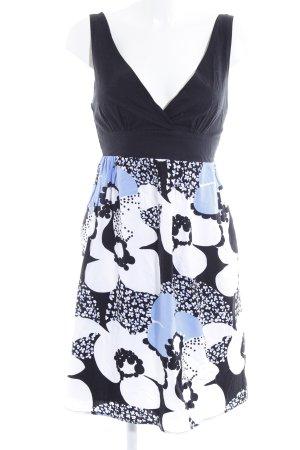 Lavand Trägerkleid schwarz-weiß Blumenmuster Casual-Look