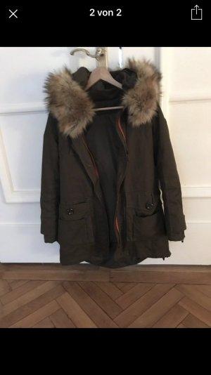 Manteau mi-saison kaki-rouge coton