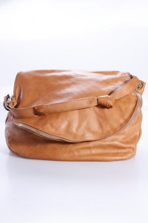 Crossbody bag beige-bronze-colored leather