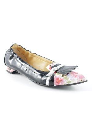 Lavorazione Tubolare Ballerinas with Toecap floral pattern leather-look