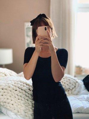 Lawrence Grey Kaschmir Cashmere Blend Luxus Oberteil Rippenstrick schwarz XS