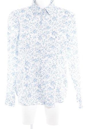 Lawrence Grey Langarm-Bluse weiß-himmelblau florales Muster Brit-Look