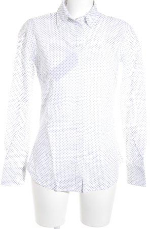 Lawrence Grey Langarmhemd weiß-schwarz Punktemuster Business-Look