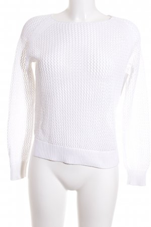 Lawrence Grey Knitted Sweater white loosely knitted pattern transparent look
