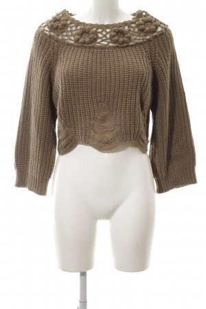 Layers Wollpullover bronzefarben Zopfmuster Casual-Look