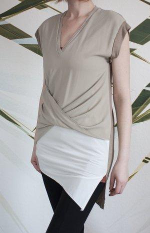 Zara Camiseta marrón grisáceo-blanco puro