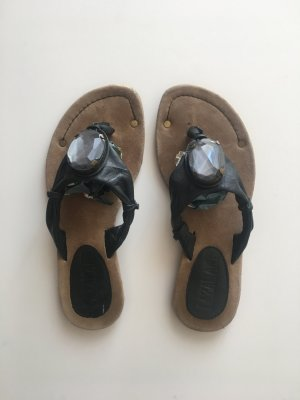 Lazamani 36 Sandalen Flip Flops Zehentrenner Leder Echtleder schwarz braun grauer anthrazitfarbener Stein Sommer Festival Urlaub Ibiza