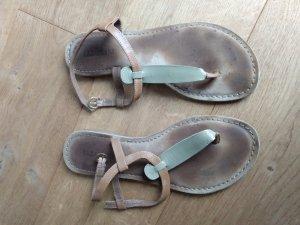 Lazamani High-Heeled Toe-Post Sandals light brown-beige