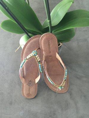 Lazamani High-Heeled Toe-Post Sandals multicolored