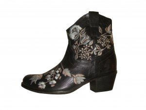 Lazamani Stickerei Stiefeletten Ancle Boots Schuhe Leder schwarz blau Gr. 37 neu