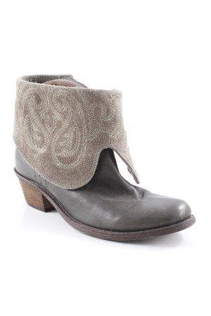 Lazamani Western-Stiefeletten khaki-graubraun abstraktes Muster Retro-Look