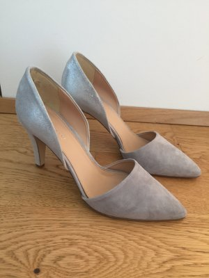 lazzarini High Heels silver-colored-light grey leather