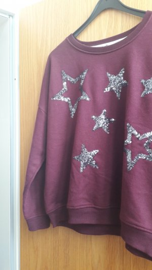 LBT Sweater mit Pailletten, Sterne,  weinrot / purpur, Größe L