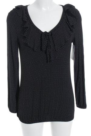 LC Waikiki Langarm-Bluse schwarz-weiß Punktemuster Casual-Look