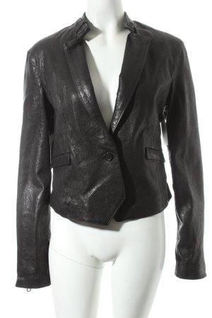 Le Full Leder-Blazer schwarz Street-Fashion-Look