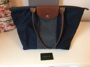Le Pilage Longchamp blau grau gestreift Leder