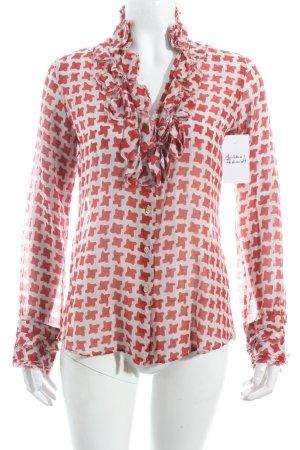 Le Sarte Pettegole Langarm-Bluse graubraun-rot abstraktes Muster