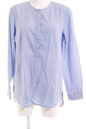 Le Sarte Pettegole Langarm-Bluse himmelblau Webmuster Casual-Look