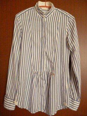 Le Sarte Pettegole Seiden-Hemd-Bluse weiß-blau gestreift Gr. 36/38