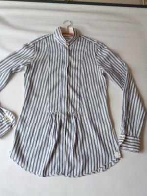 Le Sarte Pettegole Seiden-Hemd-Bluse weiß-blau gestreift Gr. 38 fällt klein aus