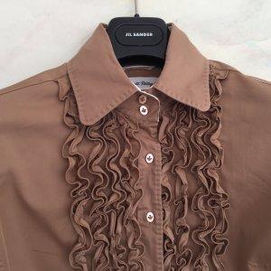 LE SATRE PETTEGOLE-- Bluse mit Rüschen-Plastron in nougat
