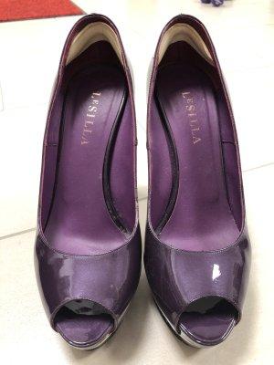 Le Silla Peeptoes mit Plateau Lack Gr.40 lila violett