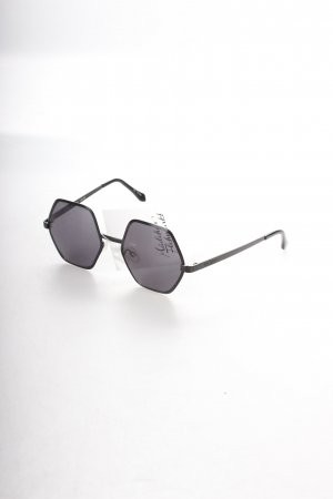 Le Specs eckige Sonnenbrille schwarz extravaganter Stil