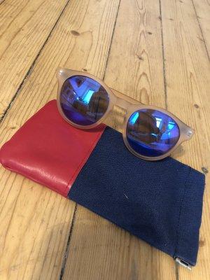 Le Specs Round Sunglasses nude-steel blue