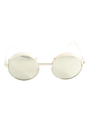 Le Specs Lunettes de soleil rondes doré-beige clair style mode des rues