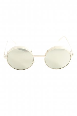 Le Specs runde Sonnenbrille goldfarben-hellbeige Street-Fashion-Look