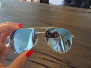 LE SPECS Sonnenbrille, hellblau-verspiegelt, goldenes Gestell, neu!!