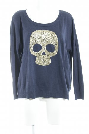 Le Temps des Cerises Oversized Sweater dark blue-gold-colored graphic pattern