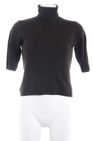Le Tricot Longhin Sweater met korte mouwen zwart bruin casual uitstraling