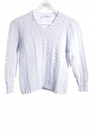 Le Tricot Longhin Cable Sweater azure classic style