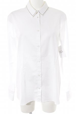 Le Tricot Perugia Langarm-Bluse weiß-schwarz Business-Look