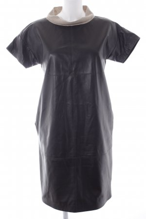 Le Tricot Perugia Leren jurk donkerbruin-beige elegant