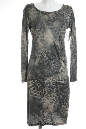 Le Tricot Perugia Stretch Dress grey-cream leopard pattern elegant