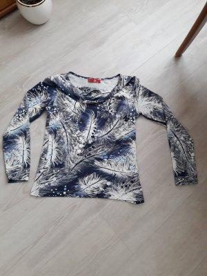 Cowl-Neck Shirt white-dark blue mixture fibre