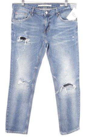 Leara Woman Pantalone a vita bassa blu puntinato stile casual