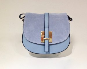 Crossbody bag azure-gold-colored leather