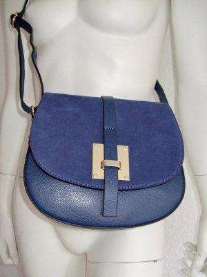 Leather Bag Royalblau Gold New