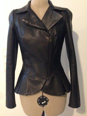 Leather Peplum Jacke von Alexander Mc Queen