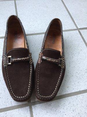 Lebong Mocassins brun foncé cuir
