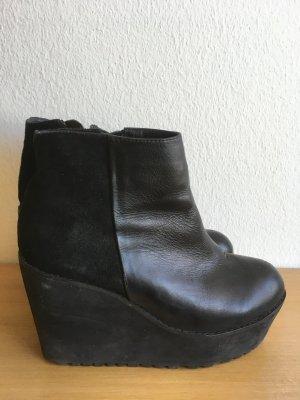 Leder Ankel Boots Schwarz