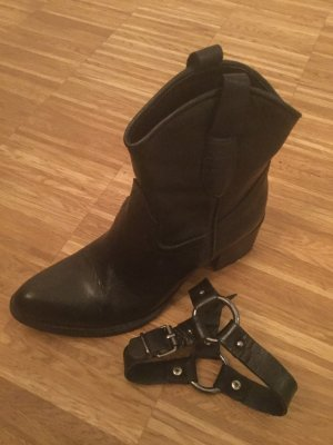 Leder Ankle Boots mit abnehmbaren Riegeln