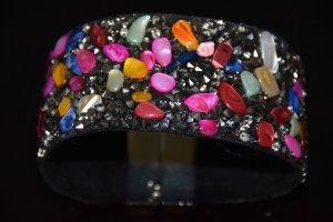 Leder-Armband/Armspange mit Kristallen, Strass, Perlen, Edelsteinen NEU