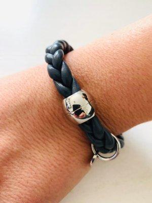 Leder Armband geflochten - qudo Codino - silber