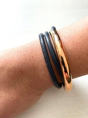 Leder Armband - qudo Doppio Small - roségold
